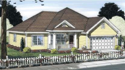 3 Bed, 2 Bath, 1360 Square Foot House Plan - #4848-00037
