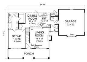 Floorplan 1 for House Plan #4848-00040