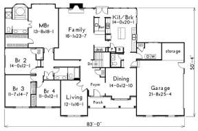 Floorplan 1 for House Plan #5633-00002
