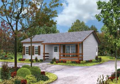 2 Bed, 1 Bath, 864 Square Foot House Plan #5633-00009