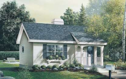 1 Bed, 1 Bath, 576 Square Foot House Plan - #5633-00046