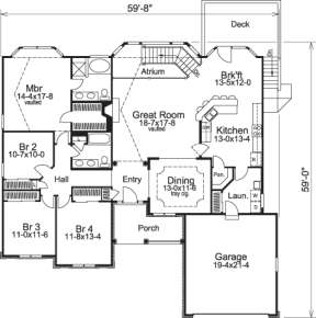 Floorplan 1 for House Plan #5633-00082