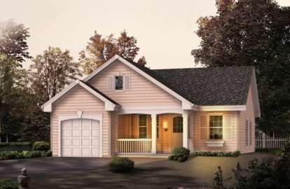2 Bed, 1 Bath, 888 Square Foot House Plan - #5633-00119