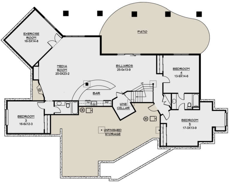 Basement for House Plan #5631-00032
