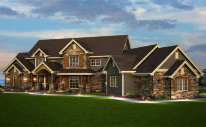 6 Bed, 4 Bath, 6837 Square Foot House Plan - #5631-00041
