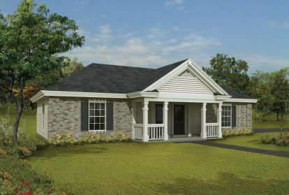 1 Bed, 1 Bath, 588 Square Foot House Plan - #5633-00125