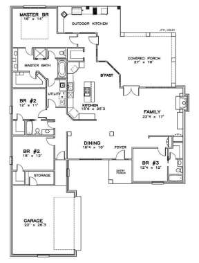 Floorplan 1 for House Plan #6471-00053