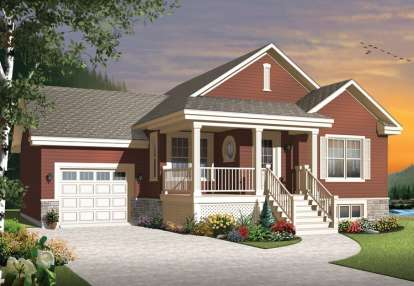 2 Bed, 1 Bath, 1028 Square Foot House Plan - #034-01056