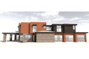 Mid Century Modern House Plan #028-00067 Elevation Photo