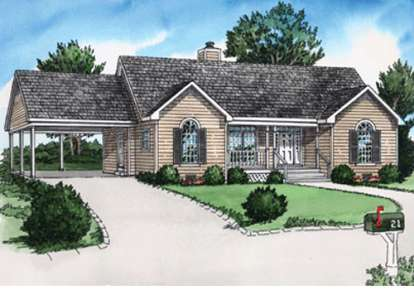 2 Bed, 2 Bath, 987 Square Foot House Plan - #9035-00002