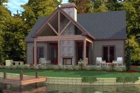 Lake Front House Plan #1070-00129 Elevation Photo