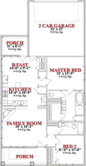 Floorplan 1 for House Plan #1070-00173