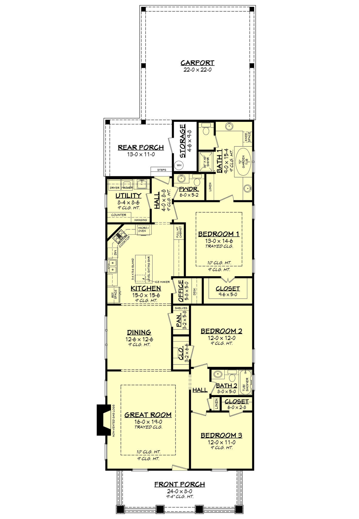 House Plan 041-00078 - Narrow Lot Plan: 1,800 Square Feet, 3 Bedrooms, on
