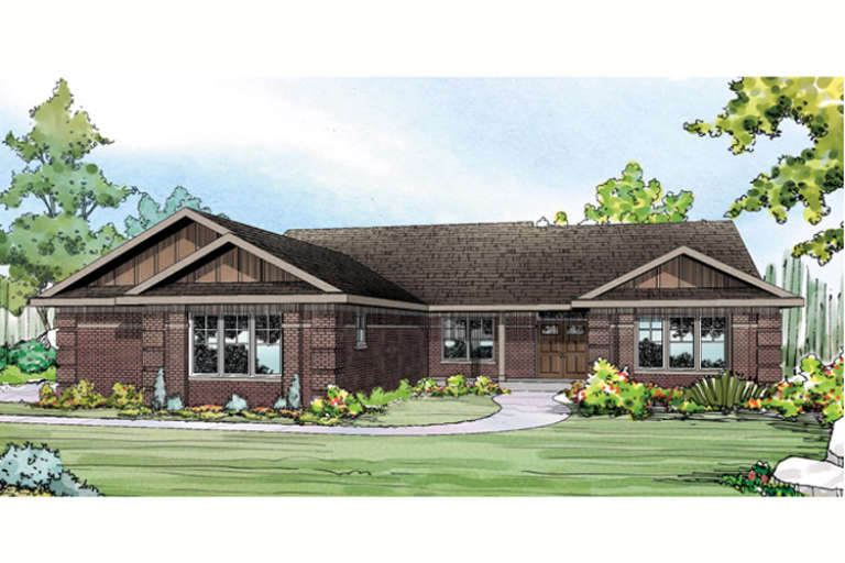 Ranch House Plan #035-00615 Elevation Photo