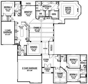 Floorplan 1 for House Plan #5445-00077