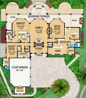 Floorplan 1 for House Plan #5445-00093