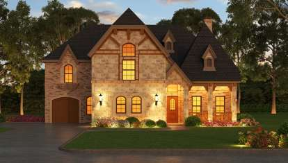 5 Bed, 5 Bath, 5297 Square Foot House Plan - #5445-00174