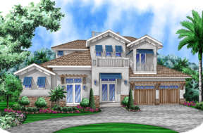 Coastal House Plan #5565-00011 Elevation Photo