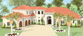Mediterranean House Plan #9940-00002 Elevation Photo