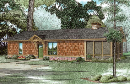 1 Bed, 1 Bath, 828 Square Foot House Plan - #110-01035