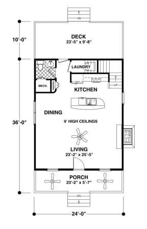 Main Floor Plan for House Plan #036-00174