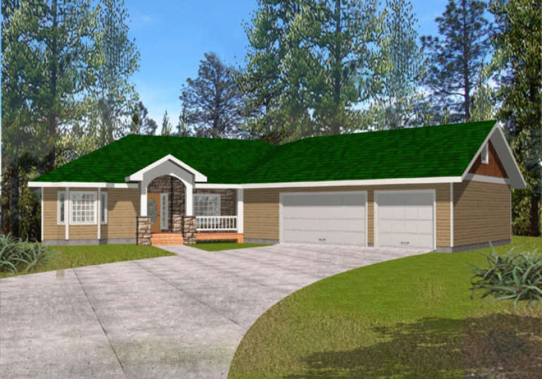 Ranch House Plan #039-00375 Elevation Photo