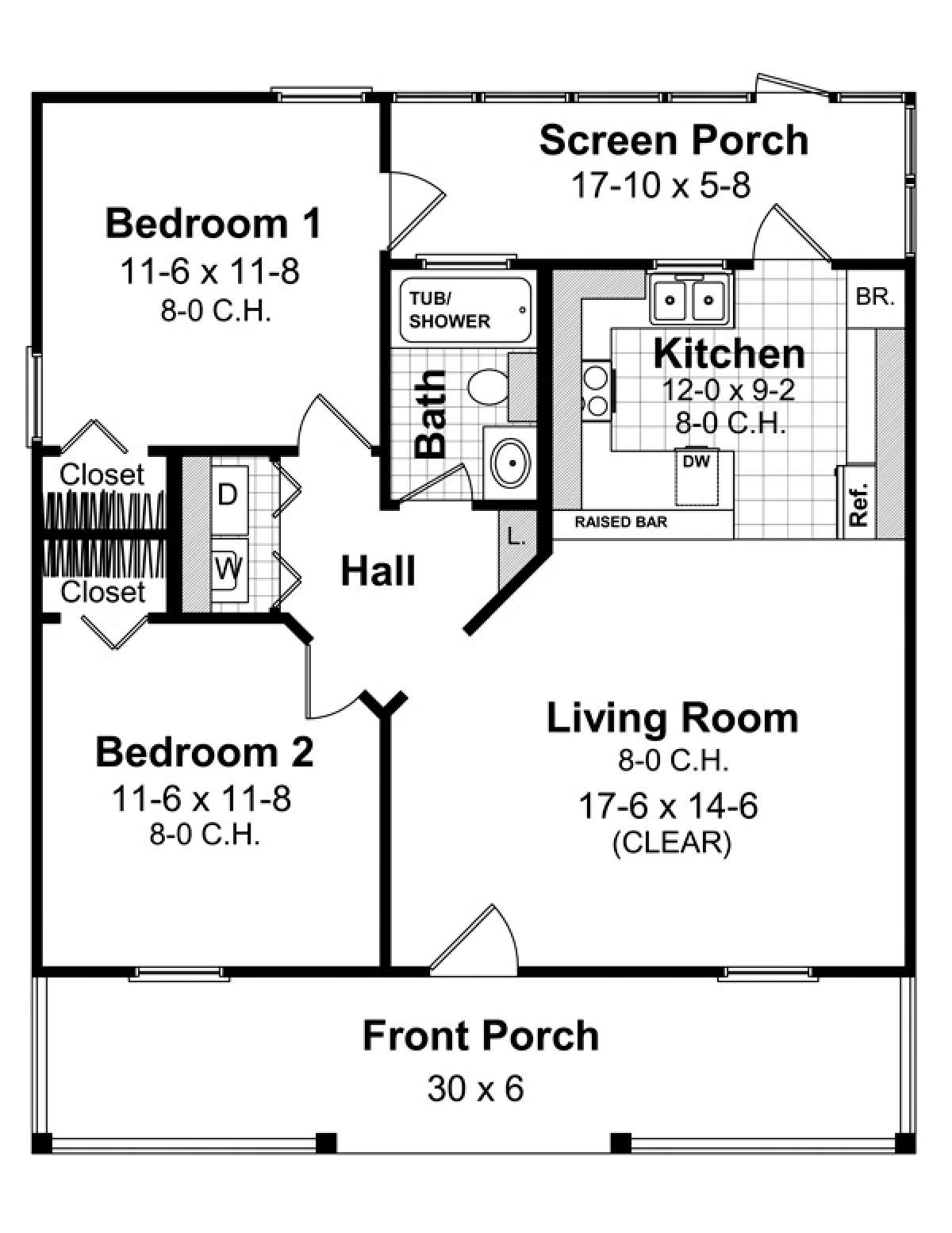 Southern Plan 800 Square Feet 2 Bedrooms 1 Bathroom 348 00252