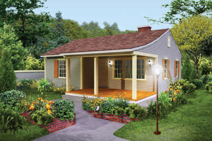 2 Bed, 1 Bath, 733 Square Foot House Plan #5633-00322