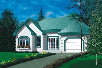 2 Bed, 1 Bath, 1108 Square Foot House Plan - #6146-00097