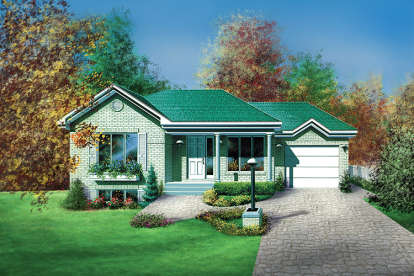 2 Bed, 1 Bath, 919 Square Foot House Plan - #6146-00107