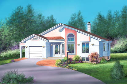 2 Bed, 1 Bath, 1131 Square Foot House Plan - #6146-00163