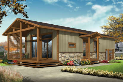 2 Bed, 1 Bath, 700 Square Foot House Plan #034-01073