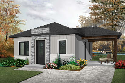 2 Bed, 1 Bath, 640 Square Foot House Plan - #034-01076
