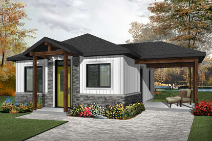 2 Bed, 1 Bath, 643 Square Foot House Plan - #034-01077
