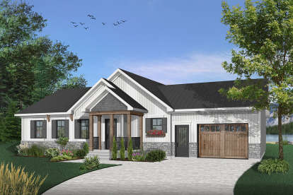 2 Bed, 1 Bath, 1443 Square Foot House Plan - #034-01082