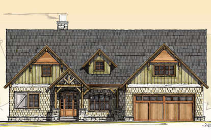 3 Bed, 2 Bath, 2421 Square Foot House Plan - #8504-00106