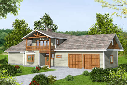 1 Bed, 2 Bath, 1784 Square Foot House Plan - #039-00702