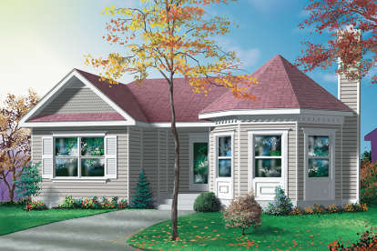 2 Bed, 1 Bath, 1020 Square Foot House Plan - #6146-00254