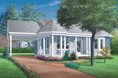 2 Bed, 1 Bath, 923 Square Foot House Plan - #6146-00259