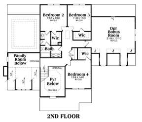 Second Floor for House Plan #009-00002