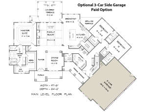 Main Floor w/ Optional 3-Car Side Garage for House Plan #6082-00006