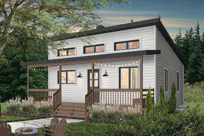 1 Bed, 1 Bath, 576 Square Foot House Plan - #034-01119