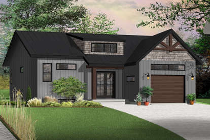 2 Bed, 1 Bath, 1283 Square Foot House Plan - #034-01128