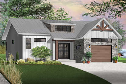 2 Bed, 1 Bath, 1339 Square Foot House Plan - #034-01129