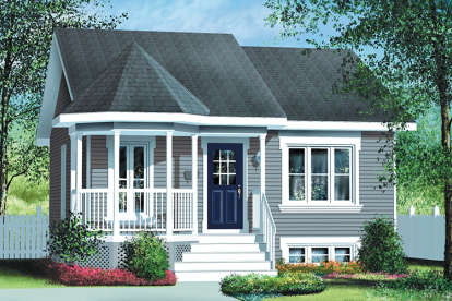 2 Bed, 1 Bath, 780 Square Foot House Plan #6146-00336