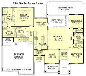 2 Car Side Garage Option for House Plan #041-00161