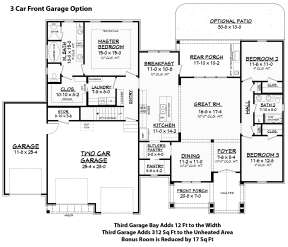 3 Car Front Garage Option for House Plan #041-00161