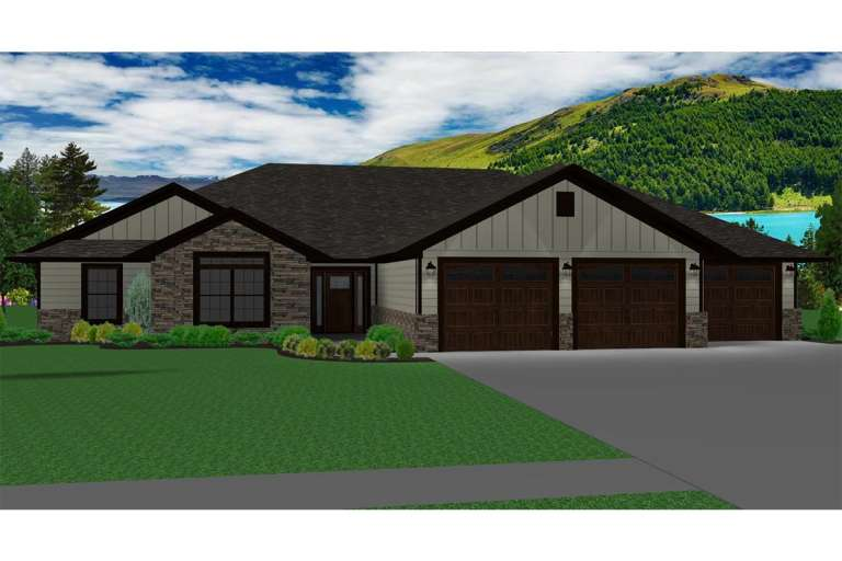 Ranch House Plan #5678-00004 Elevation Photo