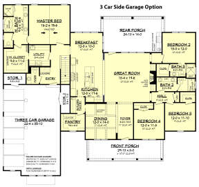 3 Car Side Garage Option for House Plan #041-00169
