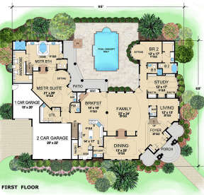 First Floor for House Plan #5445-00295